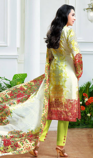 The Karishma Kapoor Collection:atisundar excellent Off White And Parrot Green designer print in cambric cotton and blended cotton suits - 10006 - atisundar - 2 - click to zoom