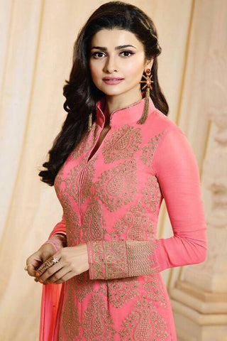 Designer Straight Cut:atisundar angelic Pink Designer Party Wear Straight Cut Featuring Prachi Desai - 13014