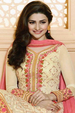 Designer Straight Cut:atisundar beauteous Cream Designer Party Wear Straight Cut Featuring Prachi Desai - 13015