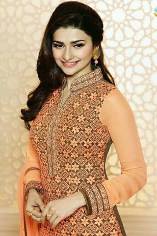 Designer Straight Cut:atisundar fascinating Orange Designer Party Wear Straight Cut Featuring Prachi Desai - 13016
