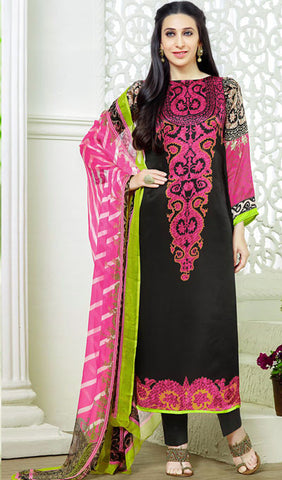 The Karishma Kapoor Collection:atisundar superb Black And Pink designer print  in cambric cotton and blended cotton suits - 10007 - atisundar - 1 - click to zoom