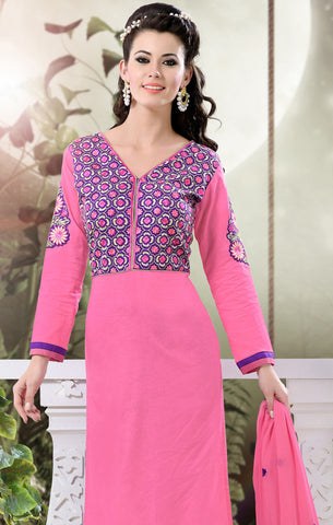 Designer Semi Stitched Stright cut Cotton Suits:atisundar graceful   in Pink - 5276 - atisundar - 4