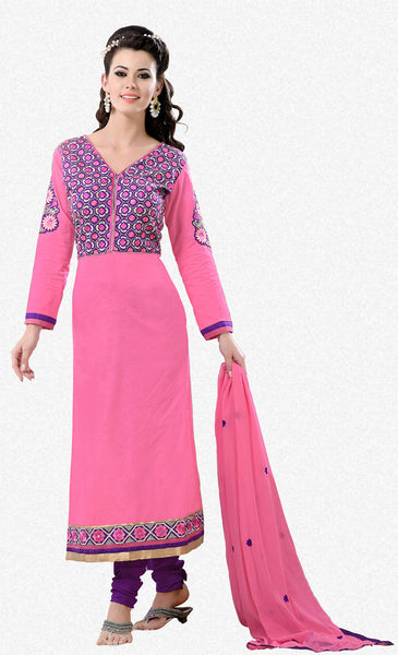 Designer Semi Stitched Stright cut Cotton Suits:atisundar graceful   in Pink - 5276 - click to zoom