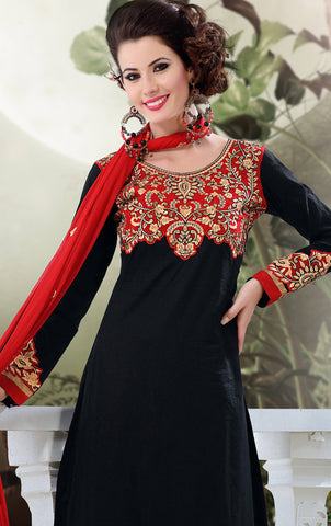Designer Semi Stitched Stright cut Cotton Suits:atisundar splendid   in Black - 5277 - atisundar - 4 - click to zoom