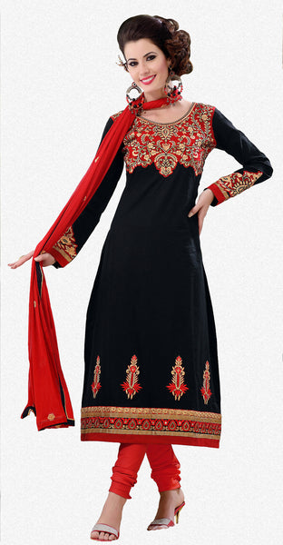 Designer Semi Stitched Stright cut Cotton Suits:atisundar splendid   in Black - 5277 - click to zoom
