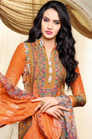Designer Straight Cut:atisundar Beautiful Orange Designer Party Wear Straight Cut - 12979