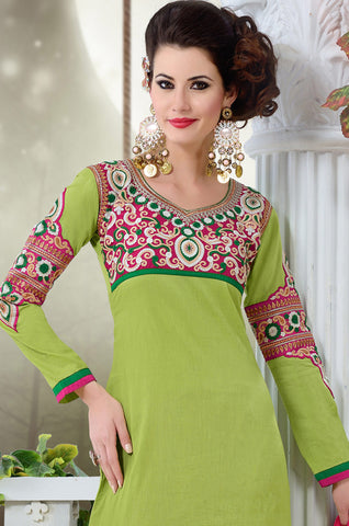 Designer Semi Stitched Stright cut Cotton Suits:atisundar refined   in Pista Green - 5278 - atisundar - 4