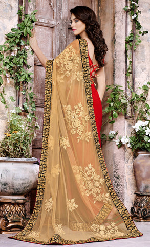 Designer Embroidered Saree:atisundar ravishing Designer Embroidered Party Wear Sarees in Beige  - 8904 - atisundar - 3 - click to zoom