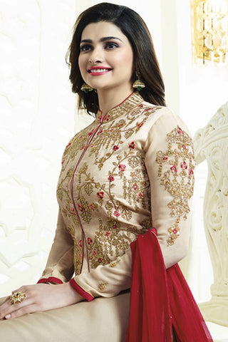 Designer Straight Cut:atisundar Superb Cream Designer Party Wear Straight Cut Featuring Prachi Desai - 13554