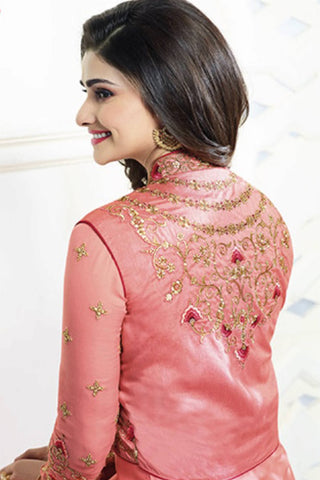 Designer Straight Cut:atisundar splendid Pink Designer Party Wear Straight Cut Featuring Prachi Desai - 13555