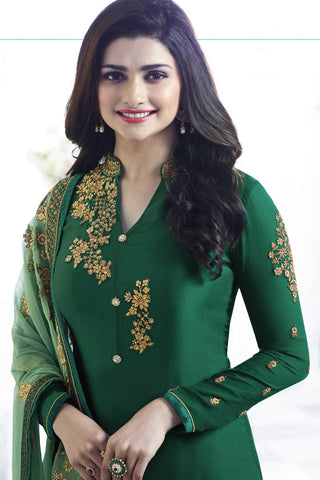Designer Straight Cut:atisundar comely Green Designer Party Wear Straight Cut Featuring Prachi Desai - 13556