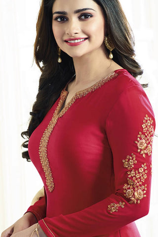 Designer Straight Cut:atisundar charming Red Designer Party Wear Straight Cut Featuring Prachi Desai - 13557