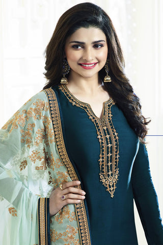 Designer Straight Cut:atisundar dazzling Blue Designer Party Wear Straight Cut Featuring Prachi Desai - 13558