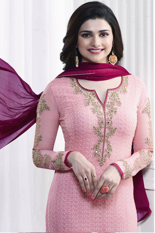 Designer Straight Cut:atisundar refined Pink Designer Party Wear Straight Cut Featuring Prachi Desai - 13462