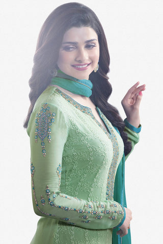 Designer Straight Cut:atisundar gorgeous Green Designer Party Wear Straight Cut Featuring Prachi Desai - 13463
