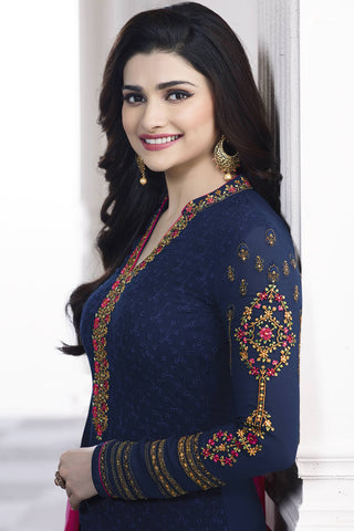 Designer Straight Cut:atisundar excellent Blue Designer Party Wear Straight Cut Featuring Prachi Desai - 13464