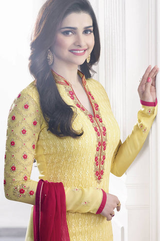 Designer Straight Cut:atisundar exquisite Yellow Designer Party Wear Straight Cut Featuring Prachi Desai - 13465