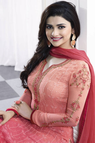 Designer Straight Cut:atisundar comely Peach Designer Party Wear Straight Cut Featuring Prachi Desai - 13466