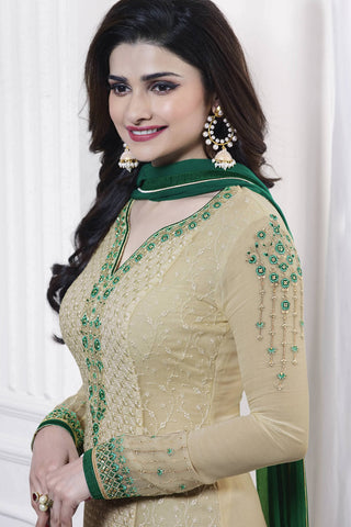 Designer Straight Cut:atisundar graceful Cream Designer Party Wear Straight Cut Featuring Prachi Desai - 13467