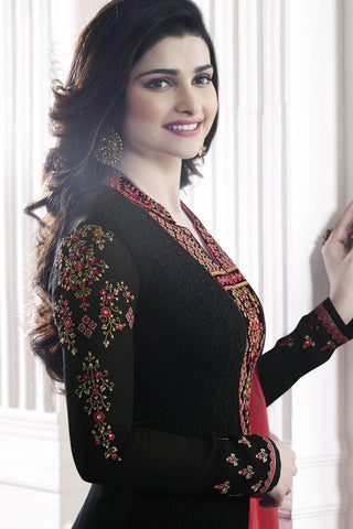 Designer Straight Cut:atisundar gorgeous Black Designer Party Wear Straight Cut Featuring Prachi Desai - 13468