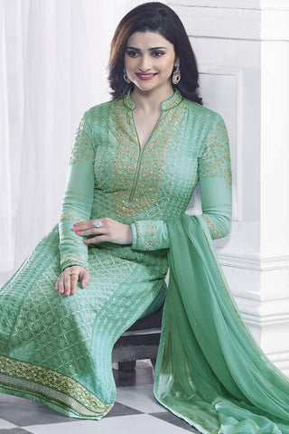 Designer Straight Cut:atisundar Superb Green Designer Party Wear Straight Cut Featuring Prachi Desai - 13469