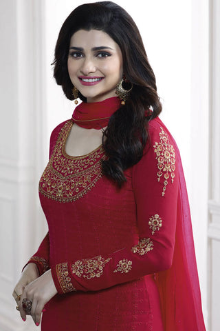 Designer Straight Cut:atisundar comely Red Designer Party Wear Straight Cut Featuring Prachi Desai - 13470