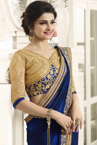 Designer Saree:atisundar gorgeous Designer Party Wear Saree Featuring Prachi Desai in Blue  - 13537