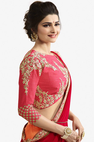 Designer Saree:atisundar wonderful Designer Party Wear Saree Featuring Prachi Desai in Red And Peach  - 13538