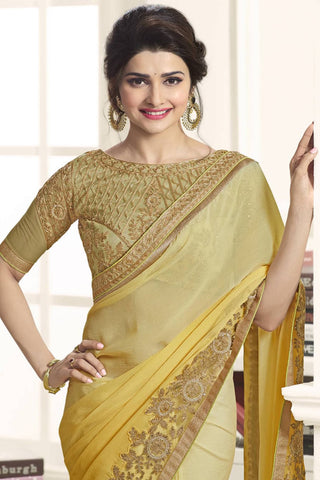 Designer Saree:atisundar dazzling Designer Party Wear Saree Featuring Prachi Desai in Yellow  - 13539