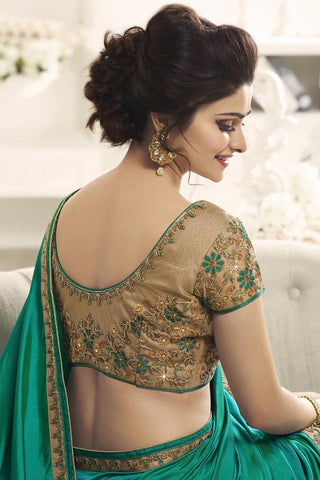 Designer Saree:atisundar fair Designer Party Wear Saree Featuring Prachi Desai in Green  - 13540