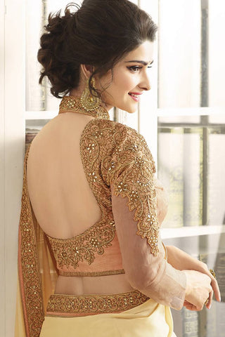 Designer Saree:atisundar charming Designer Party Wear Saree Featuring Prachi Desai in Cream And Peach  - 13541