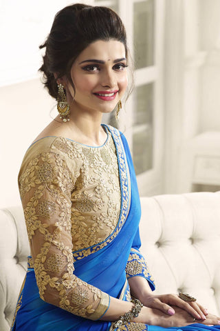 Designer Saree:atisundar gorgeous Designer Party Wear Saree Featuring Prachi Desai in Blue  - 13543
