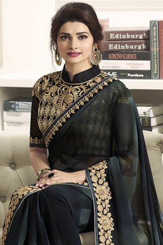 Designer Saree:atisundar lovely Designer Party Wear Saree Featuring Prachi Desai in Black  - 13544
