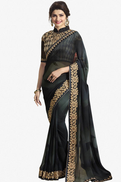 6c0f046623c297 Designer Saree:atisundar lovely Designer Party Wear Saree Featuring Prachi  Desai in Black - 13544