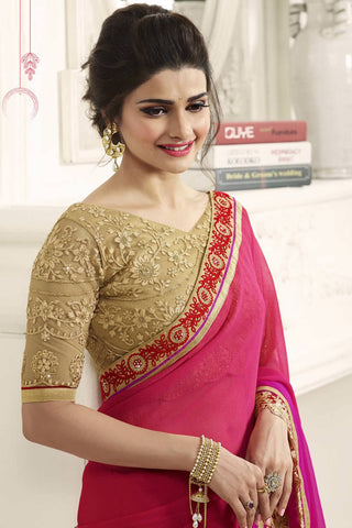 Designer Saree:atisundar angelic Designer Party Wear Saree Featuring Prachi Desai in Red And Pink  - 13546