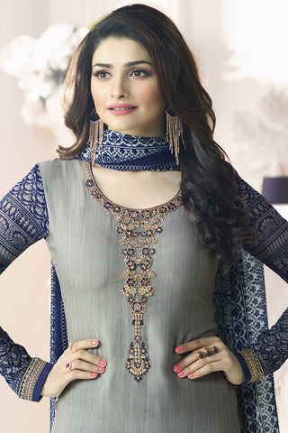 Designer Straight Cut:atisundar appealing Grey Designer Party Wear Straight Cut Featuring Prachi Desai - 13562