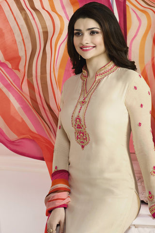Designer Straight Cut:atisundar cute Cream Designer Party Wear Straight Cut Featuring Prachi Desai - 13563
