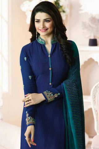 Designer Straight Cut:atisundar delicate Blue Designer Party Wear Straight Cut Featuring Prachi Desai - 13568