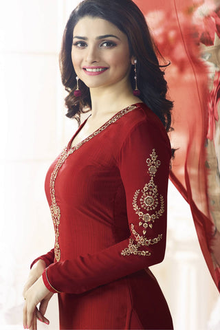 Designer Straight Cut:atisundar Great Red Designer Party Wear Straight Cut Featuring Prachi Desai - 13569