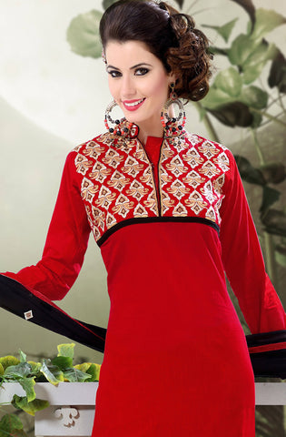 Designer Semi Stitched Stright cut Cotton Suits:atisundar appealing   in Dark Red - 5279 - atisundar - 4 - click to zoom