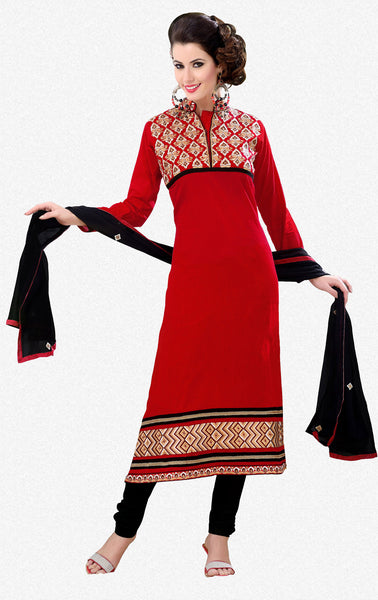Designer Semi Stitched Stright cut Cotton Suits:atisundar appealing   in Dark Red - 5279 - click to zoom