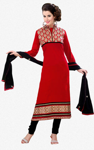 Designer Semi Stitched Stright cut Cotton Suits:atisundar appealing   in Dark Red - 5279 - atisundar - 2 - click to zoom