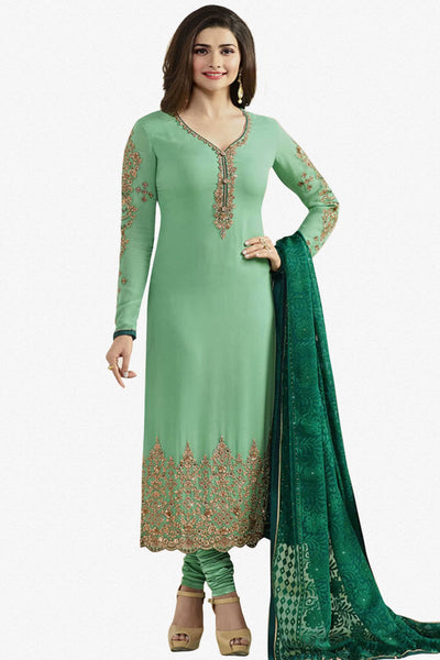 Designer Straight Cut:atisundar marvelous Green Designer Party Wear Straight Cut Featuring Prachi Desai - 14239 - click to zoom