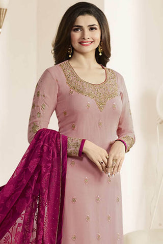 Designer Straight Cut:atisundar marvelous Pink Designer Party Wear Straight Cut Featuring Prachi Desai - 14240