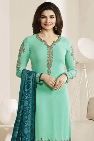 Designer Straight Cut:atisundar Great Green Designer Party Wear Straight Cut Featuring Prachi Desai - 14241