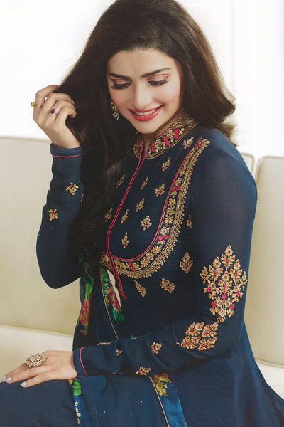 Designer Anarkali:atisundar elegant Blue Designer Party Wear Anarkali Featuring Prachi Desai - 14246 - click to zoom