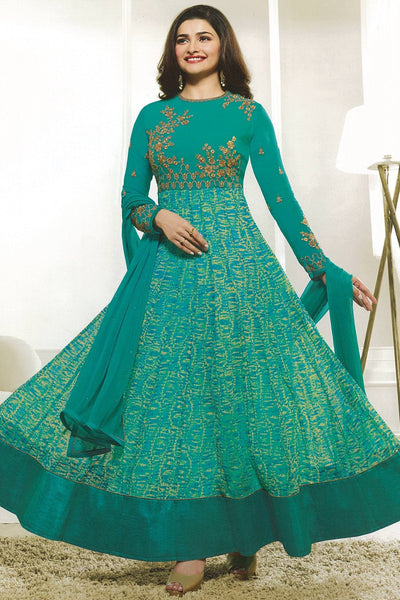 Designer Anarkali:atisundar refined Green Designer Party Wear Anarkali Featuring Prachi Desai - 14247 - click to zoom