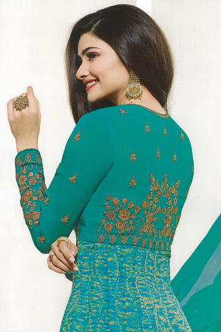 Designer Anarkali:atisundar refined Green Designer Party Wear Anarkali Featuring Prachi Desai - 14247