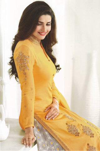 Designer Lehenga:atisundar Alluring Embroidered Faux Georgette Designer Party Wear Lehenga Featuring Prachi Desai in Yellow - 14252