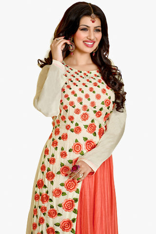 The Ayesha Takia Collection:atisundar delightful White Designer Party Wear Embroidered Anarkali Featuring Ayesha Takia - 12181 - atisundar - 4 - click to zoom